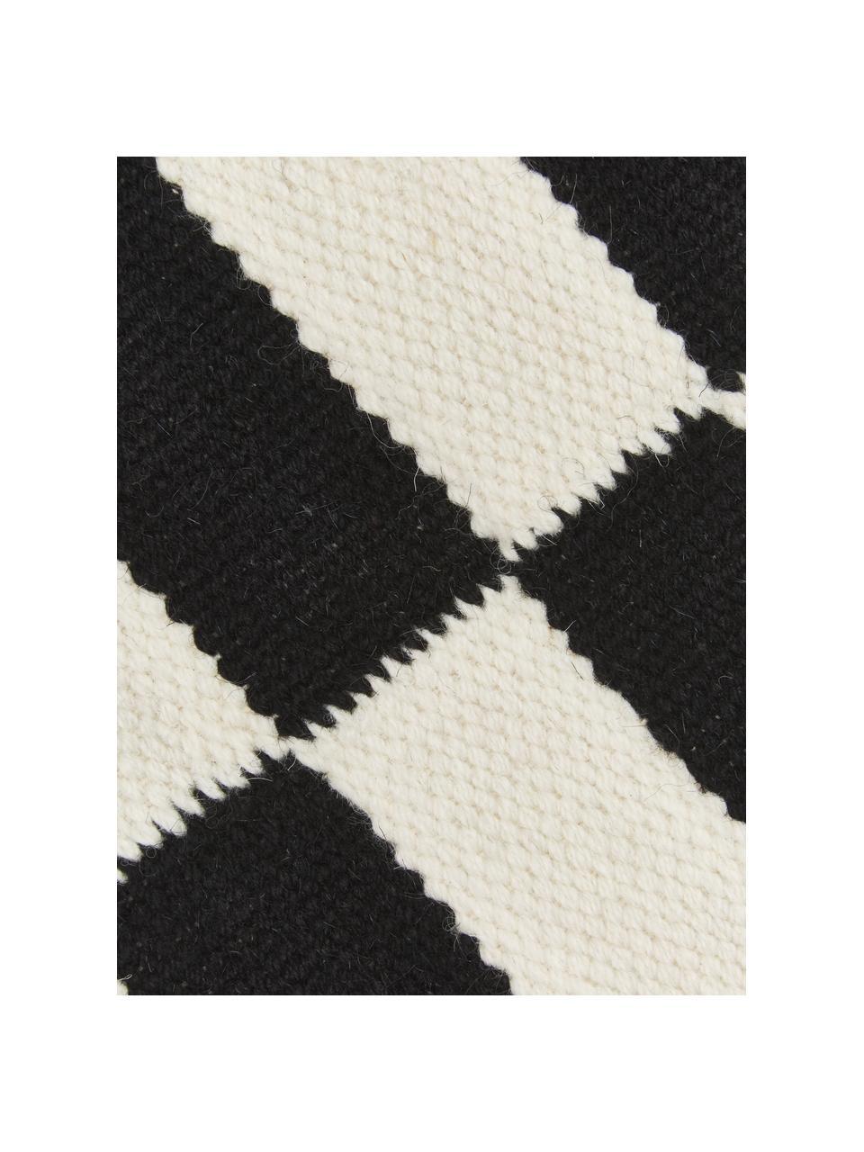 Handgeweven Kelim vloerkleed Donna met strepen, Bovenzijde: 80% wol, 20% nylon, Onderzijde: 100% katoen Bij wollen vl, Zwart, B 200 x L 300 cm (maat L)