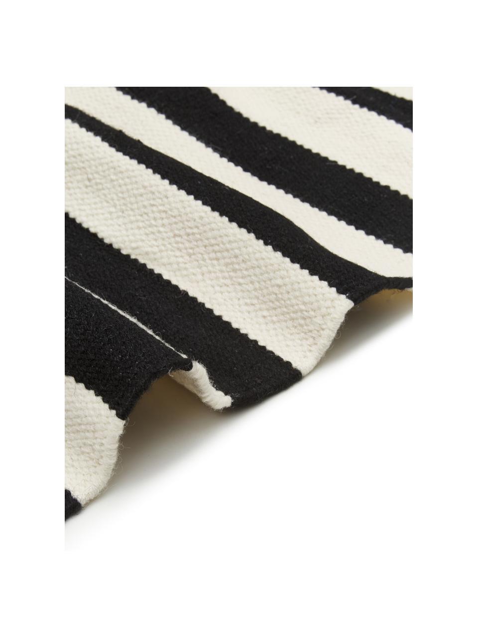 Tappeto Kilim a righe tessuto a mano Donna, Retro: 100% cotone Nel caso dei , Nero, Larg. 160 x Lung. 230 cm  (taglia M)