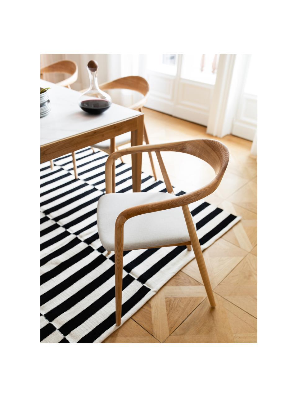 Alfombra kelim artesanal Donna, Parte superior: 80%lana, 20%nylon, Reverso: 100%algodón Las alfombra, Negro, An 160 x L 230 cm (Tamaño M)