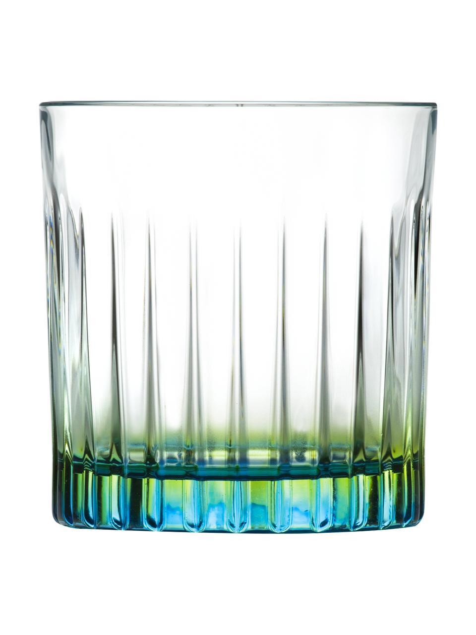 Bicchieri in cristallo Luxion Gipsy 6 pz, Cristallo Luxion, Trasparente, verde giallo, turchese, Ø 8 x Alt. 9 cm