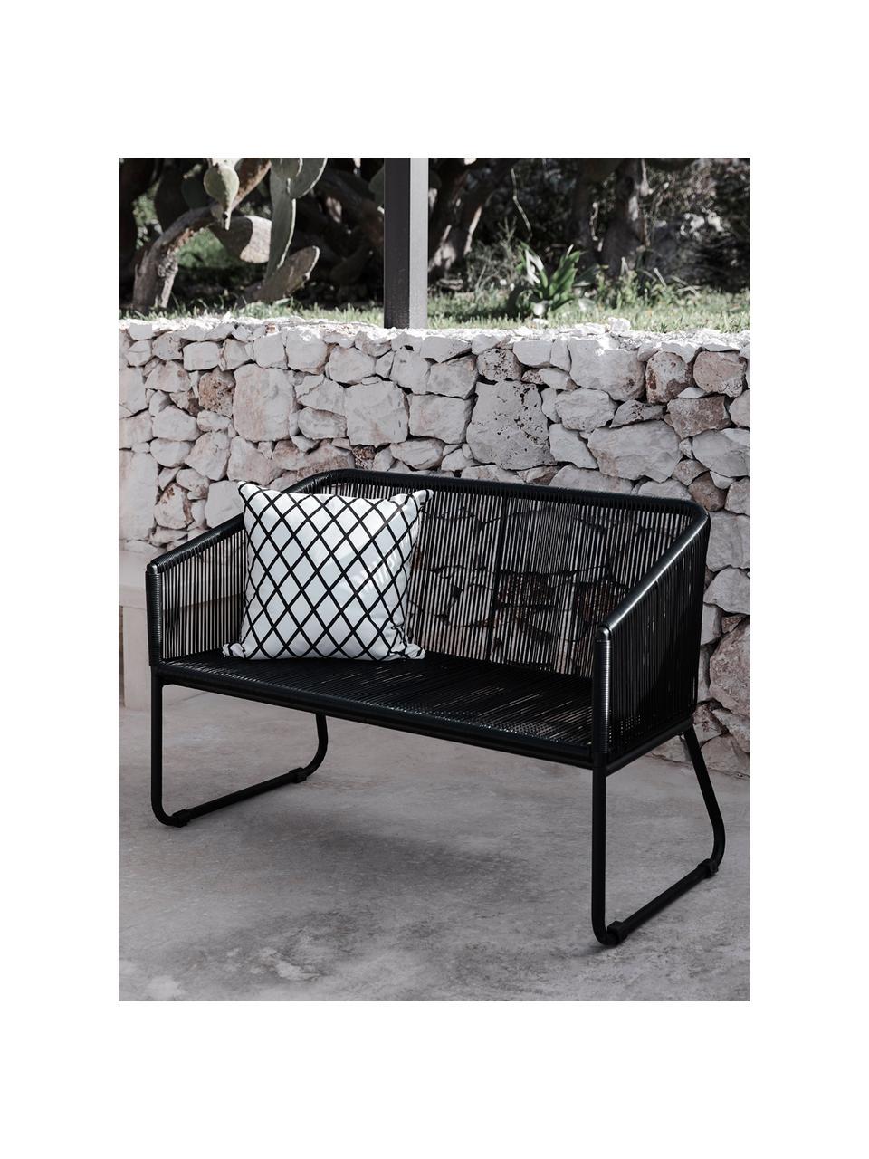 Garten-Sitzbank Moa mit Kunststoff-Geflecht, Sitzfläche: Polyethylen-Geflecht, Gestell: Metall, pulverbeschichtet, Schwarz, B 118 x T 64 cm