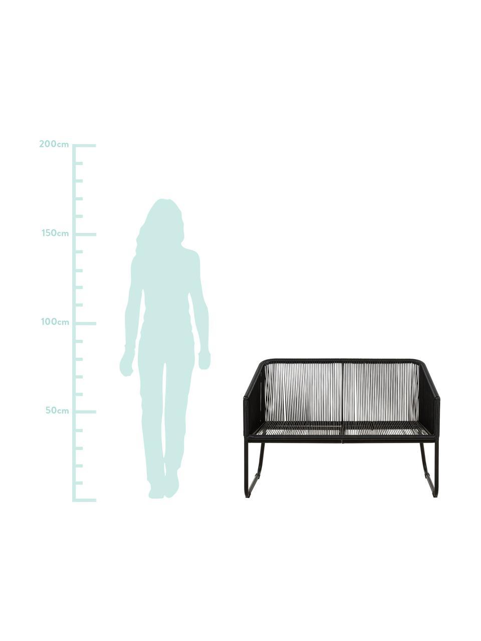 Tuinbank Moa met kunststoffen vlechtwerk, Zitvlak: polyethyleen-vlechtwerk, Frame: gepoedercoat metaal, Zwart, B 118 x D 64 cm
