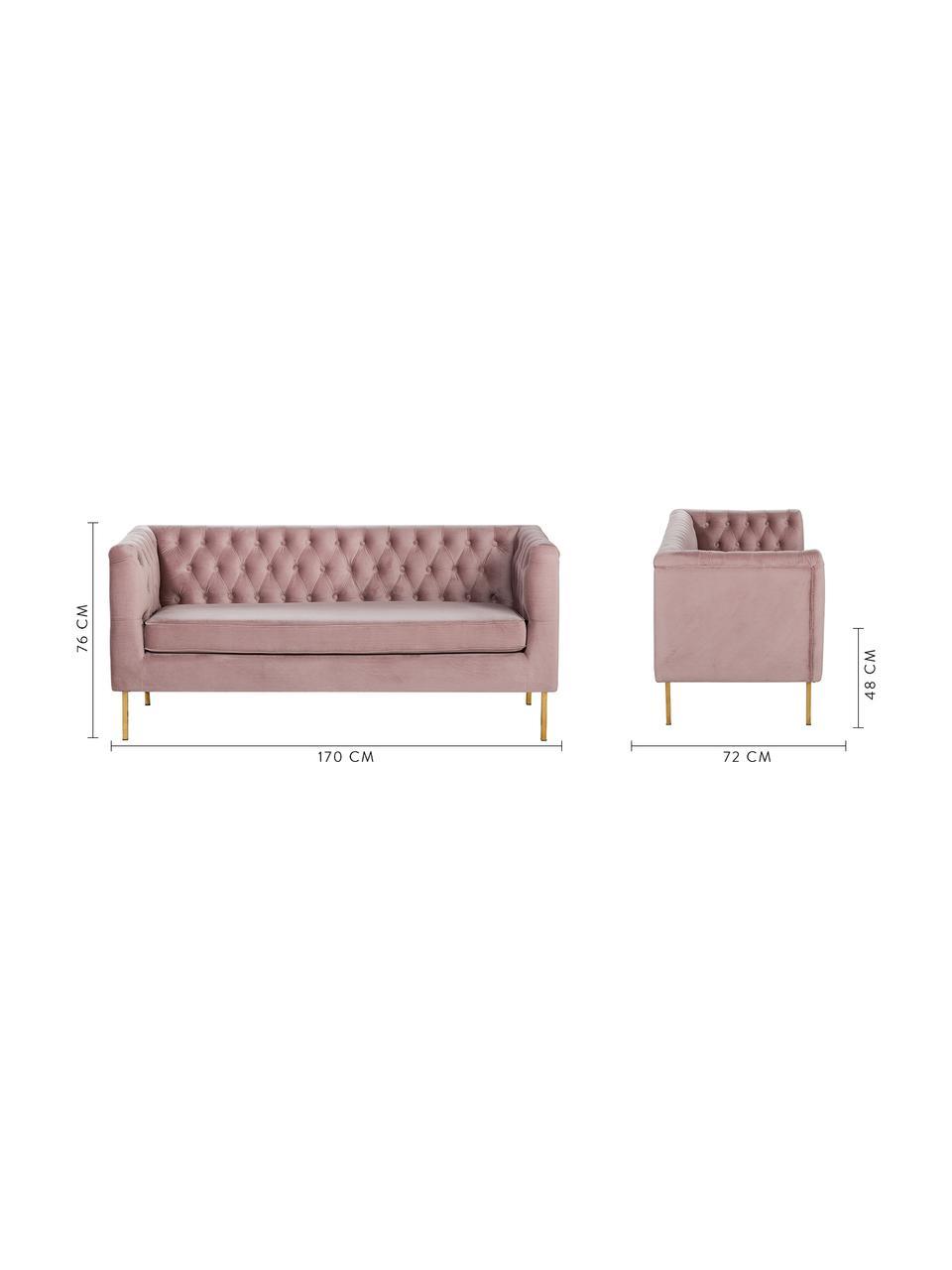 Chesterfield-Samt-Sofa Chiara (2-Sitzer) in Rosa, Bezug: Samt (Polyester) Der hoch, Gestell: Massives Birkenholz, Füße: Metall, galvanisiert, Samt Rosa, B 170 x T 72 cm