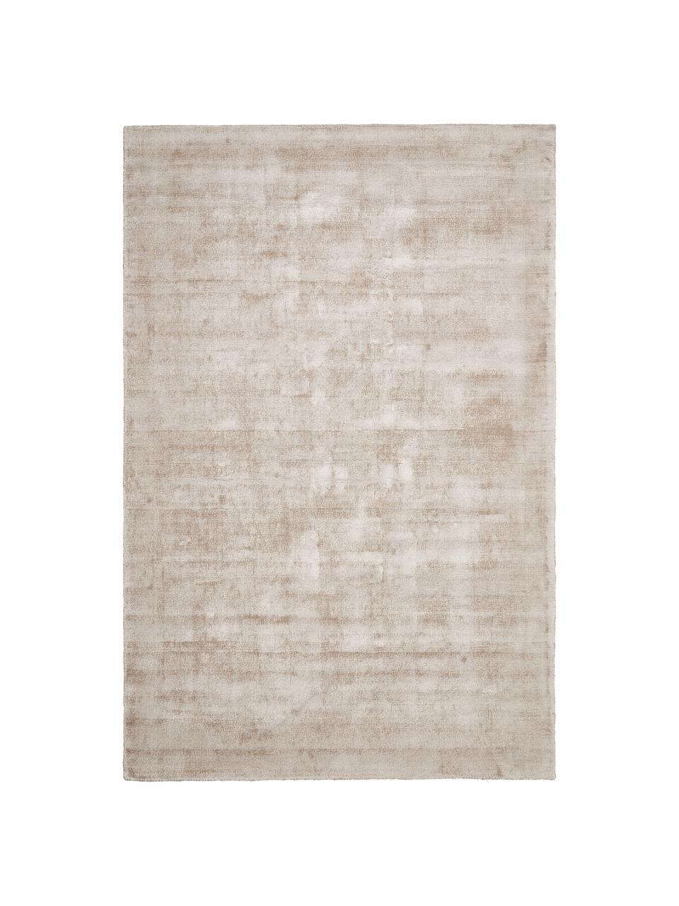 Handgeweven viscose loper Jane in beige, Bovenzijde: 100% viscose, Onderzijde: 100% katoen, Beige, B 80 x L 150 cm (maat XS)