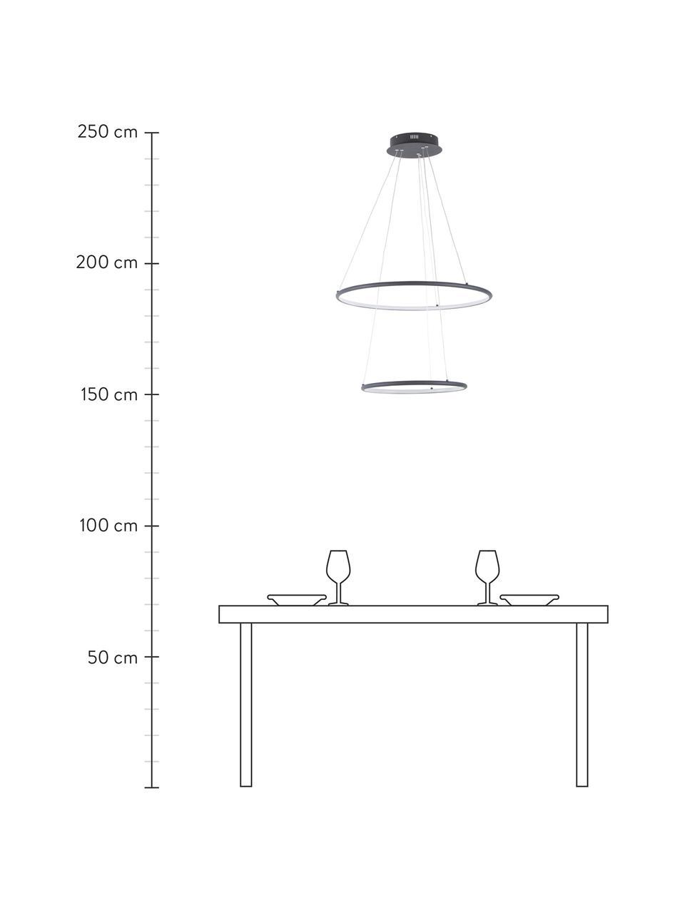 Duża lampa wisząca LED Orion, Czarny, Ø 60 x W 50 cm