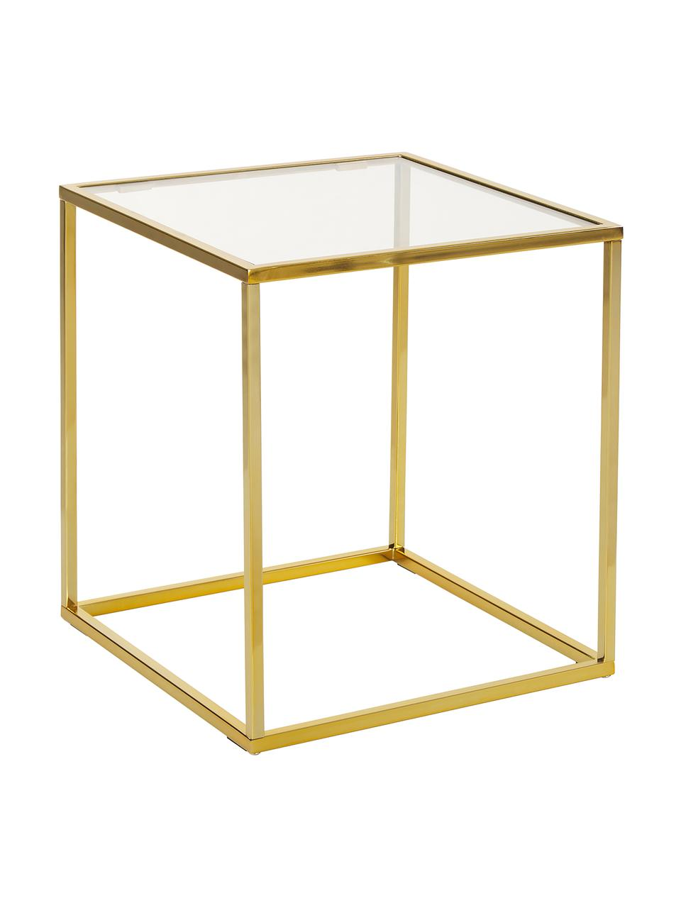 Bijzettafel Maya met glazen tafelblad, Tafelblad: veiligheidsglas, Frame: gegalvaniseerd metaal, Tafelblad: glas, transparant. Frame: glanzend goudkleurig, B 45 cm