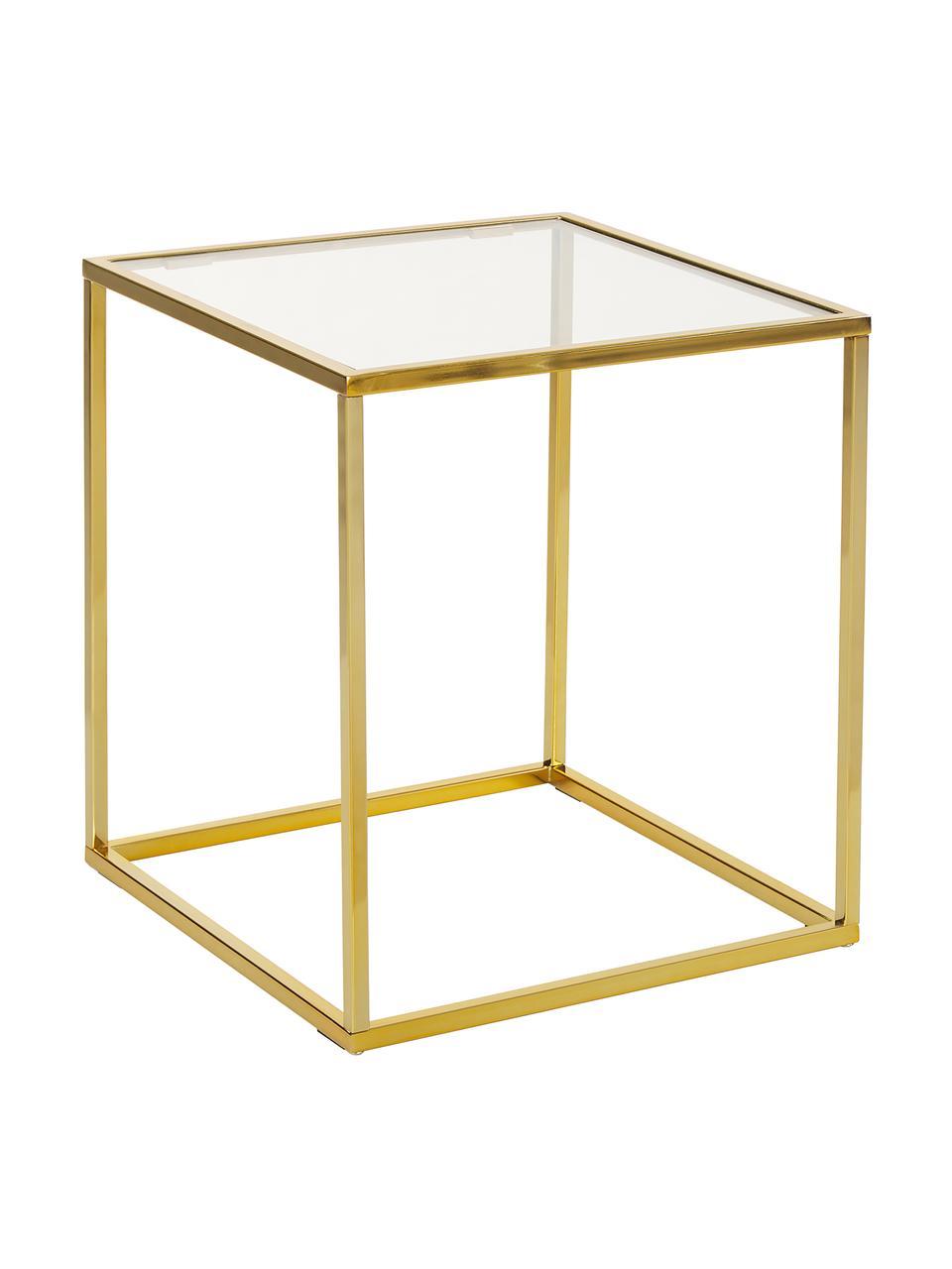 Tavolino con piano in vetro Maya, Struttura: metallo zincato, Piano: vetro trasparente Struttura: dorato lucido, Larg. 45 x Alt. 50 cm