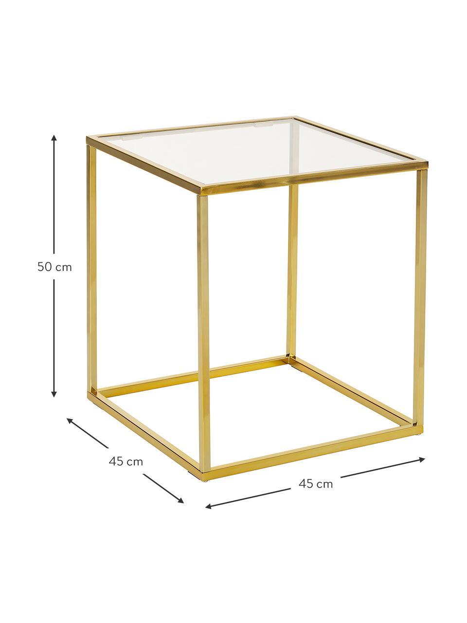 Stolik pomocniczy ze szklanym blatem Maya, Blat: szkło hartowane, Stelaż: metal galwanizowany, Blat: szkło, transparentny Stelaż: odcienie złotego, błyszczący, S 45 x W 50 cm
