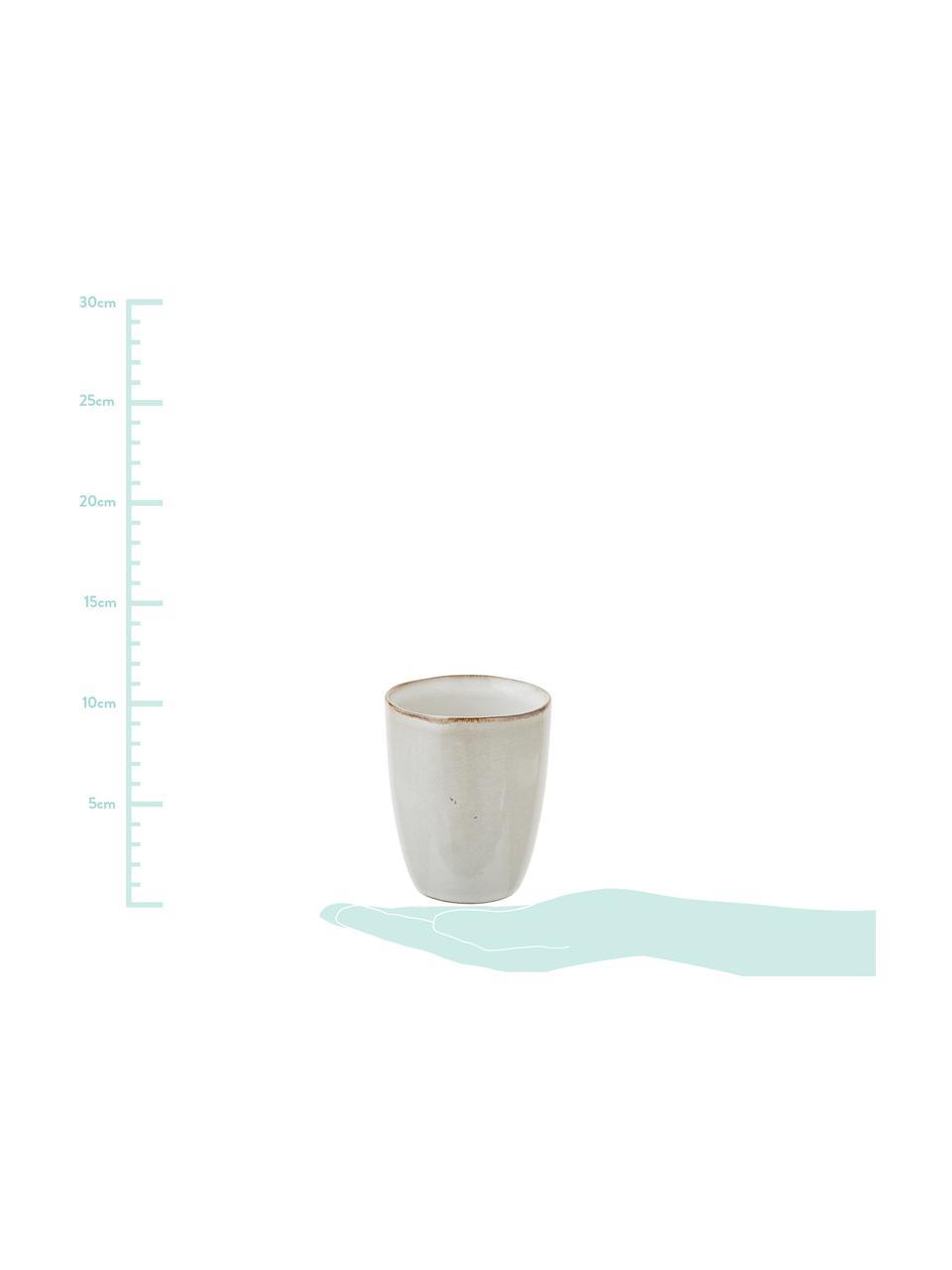 Handgemachte Steingut-Becher Thalia in Beige, 2 Stück, Steingut, Beige, Ø 9 x H 11 cm