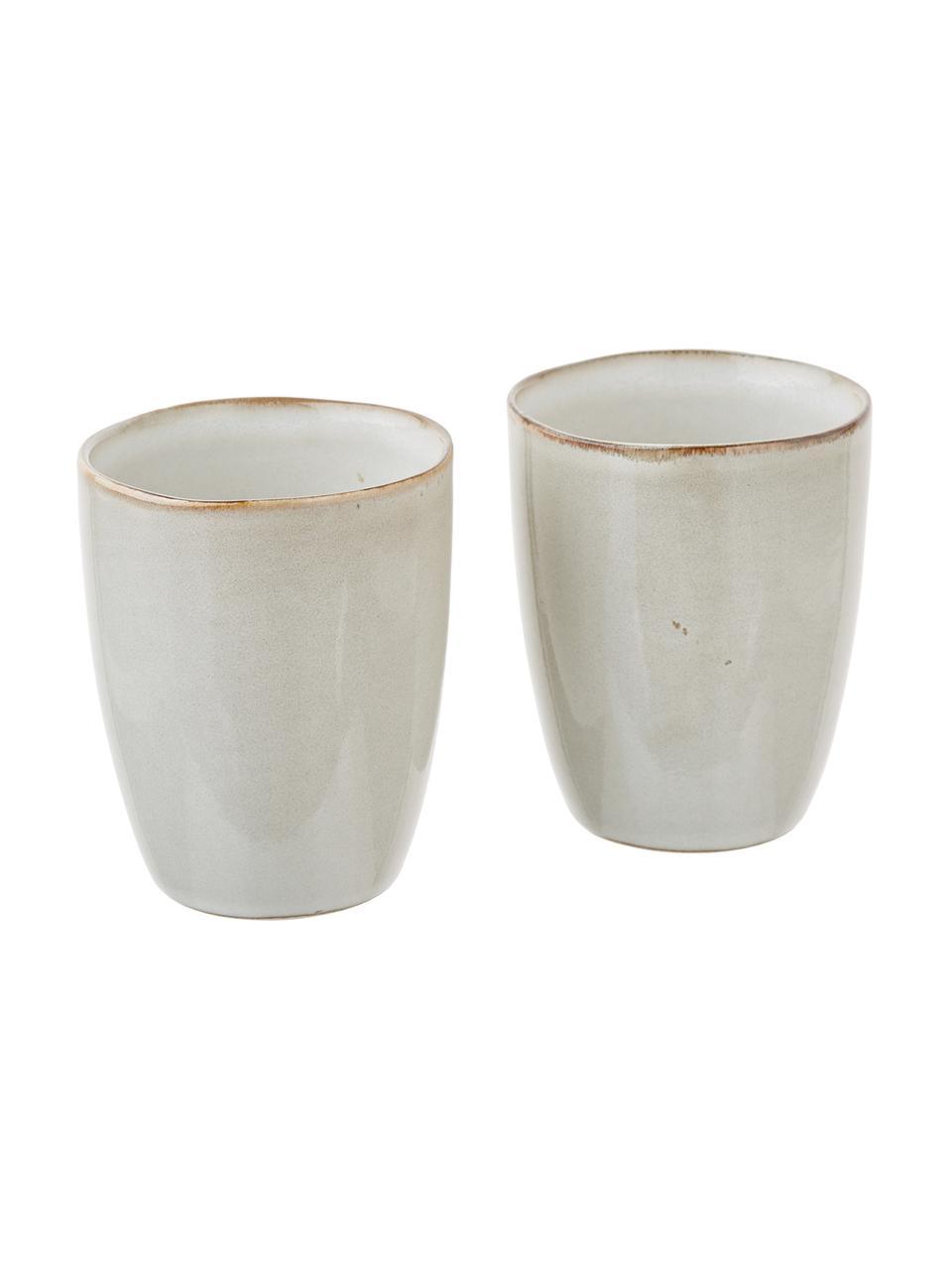 Handgemaakte keramische bekers Thalia in beige, 2 stuks, Keramiek, Beige, Ø 9 x H 11 cm