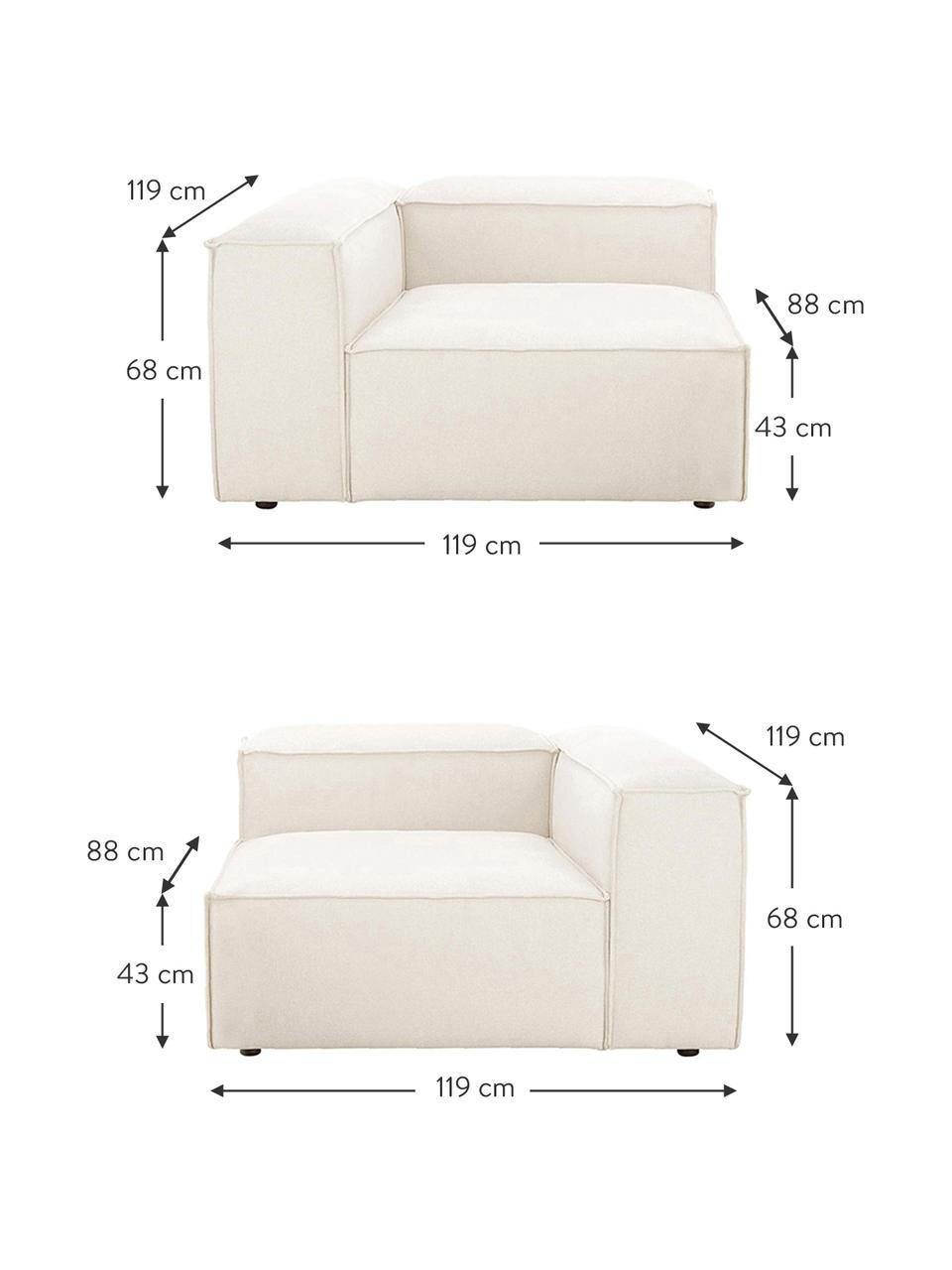 Modulaire bank Lennon (3-zits) in beige, Bekleding: polyester De hoogwaardige, Frame: massief grenenhout, multi, Poten: kunststof De poten bevind, Geweven stof beige, B 242 x D 121 cm