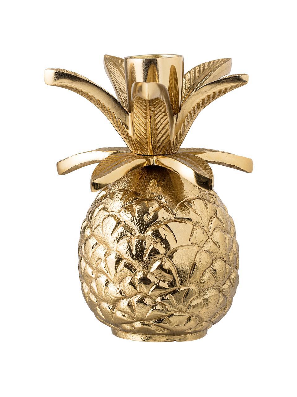 Kerzenhalter Pineapple, Aluminium, lackiert, Goldfarben, Ø 10 x H 14 cm