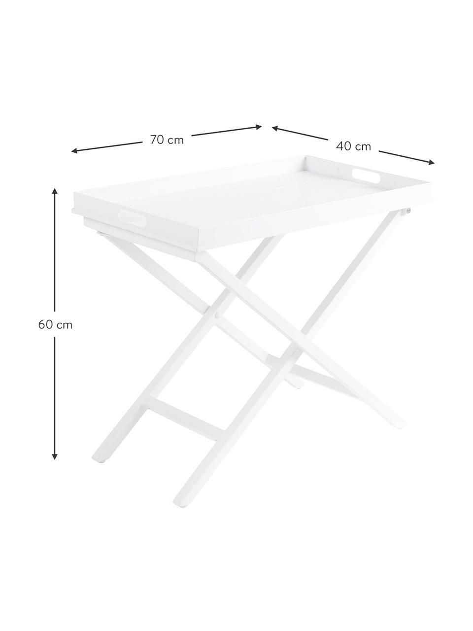 Tavolino-vassoio pieghevole Vero, Alluminio rivestito, Bianco opaco, Larg. 70 x Alt. 60 cm