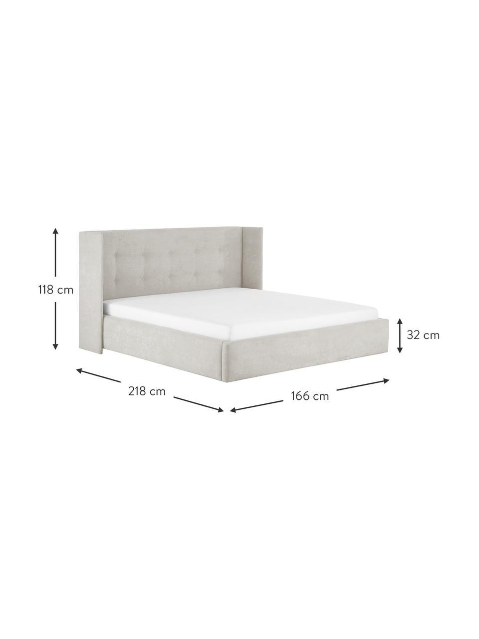 Łóżko tapicerowane Star, Korpus: lite drewno sosnowe i pły, Tapicerka: poliester (tkanina strukt, Beżowy, S 160 x D 200 cm
