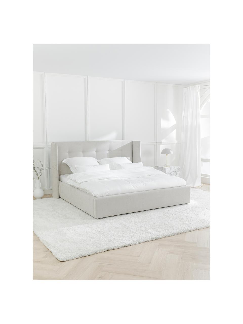 Gestoffeerd bed Star in beige, Frame: massief grenenhout en pla, Bekleding: polyester (gestructureerd, Geweven stof beige, 160 x 200 cm