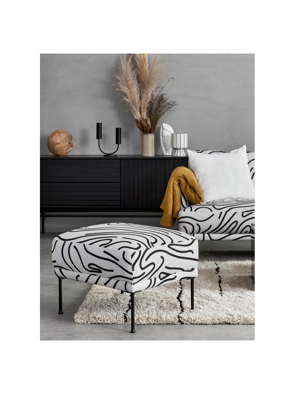 Tabouret/repose-pieds noir et blanc Fluente, Tissu blanc/noir
