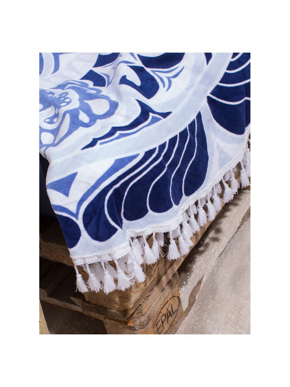 Strandtuch Carouse, Vorderseite: 100% Velour (Baumwolle), Rückseite: Frottee (Baumwolle) Mitte, Blautöne, Weiß, Ø 150 cm