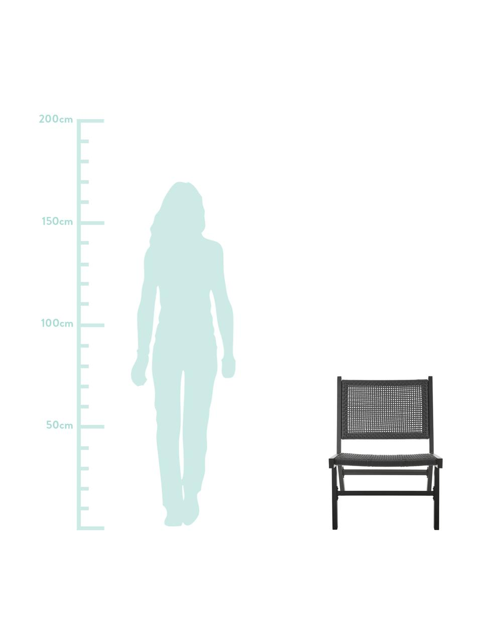 Fotel ogrodowy ze splotem z tworzywa sztucznego Palina, Stelaż: metal malowany proszkowo, Czarny, S 57 x G 78 cm