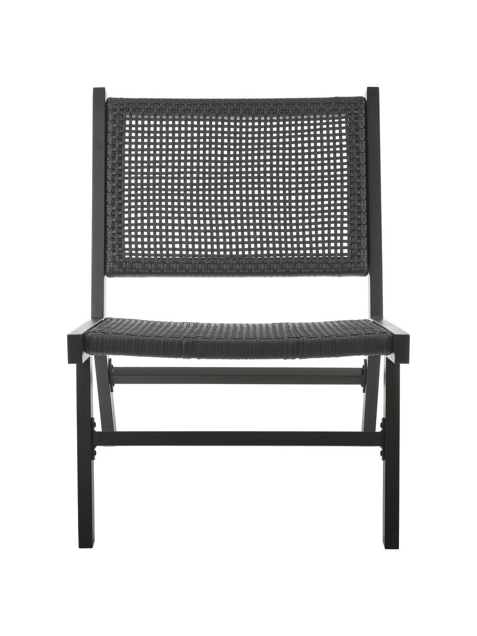 Tuin loungefauteuil Palina met kunststoffen vlechtwerk in zwart, Frame: gepoedercoat metaal, Zitvlak: kunststoffen vlechtwerk, Zwart, 57 x 78 cm