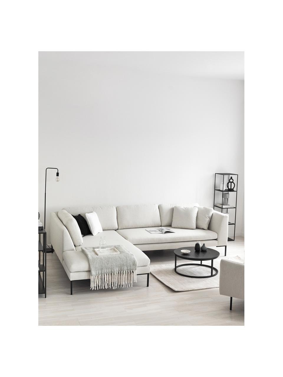 Canapé d'angle blanc crème Emma, Tissu blanc crème, pieds noirs