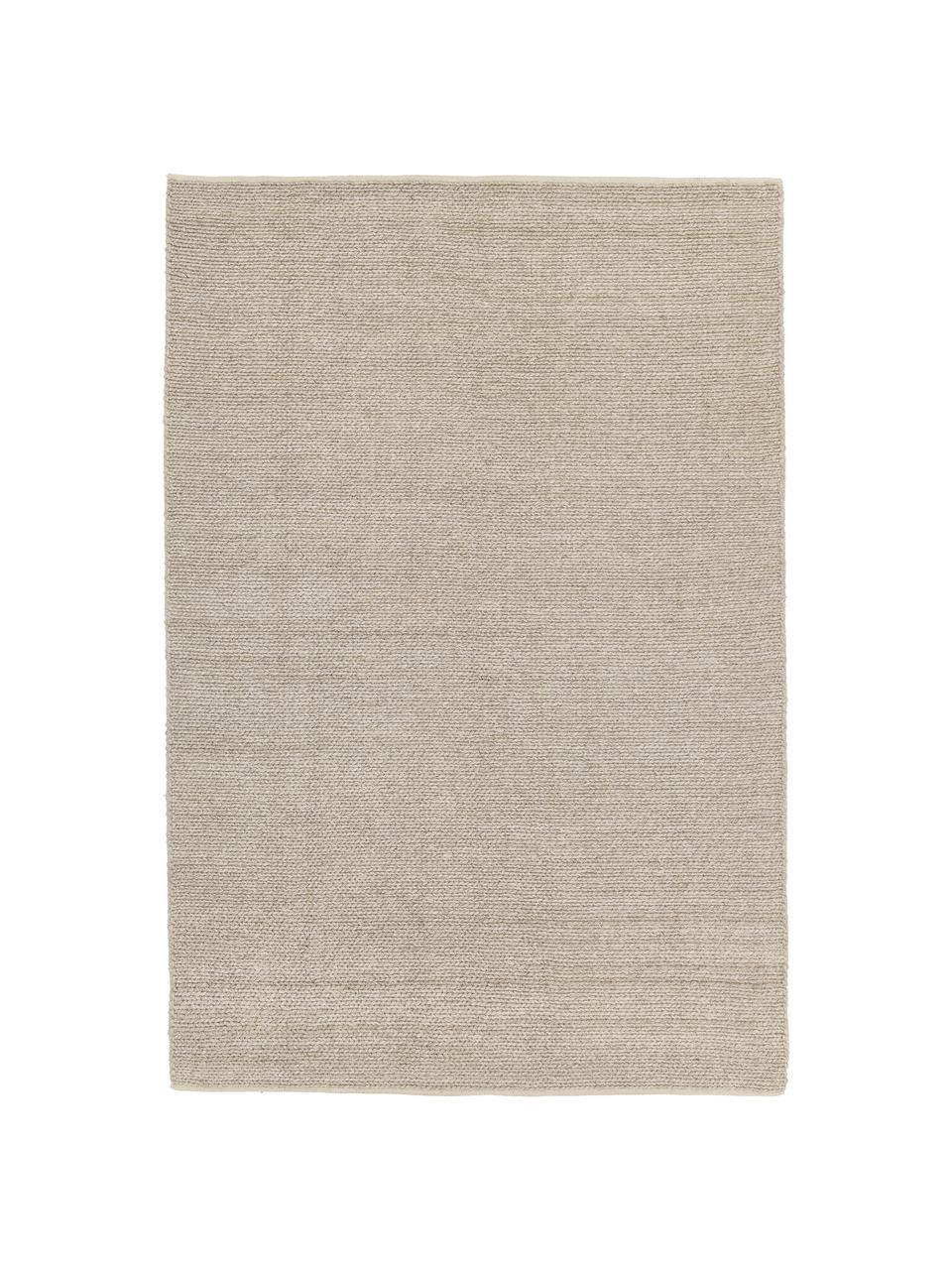 Handgeweven wollen vloerkleed Uno in taupe met gevlochten structuur, Bovenzijde: 60% wol, 40% polyester, Onderzijde: 100% katoen Bij wollen vl, Taupe, B 200 x L 300 cm (maat L)