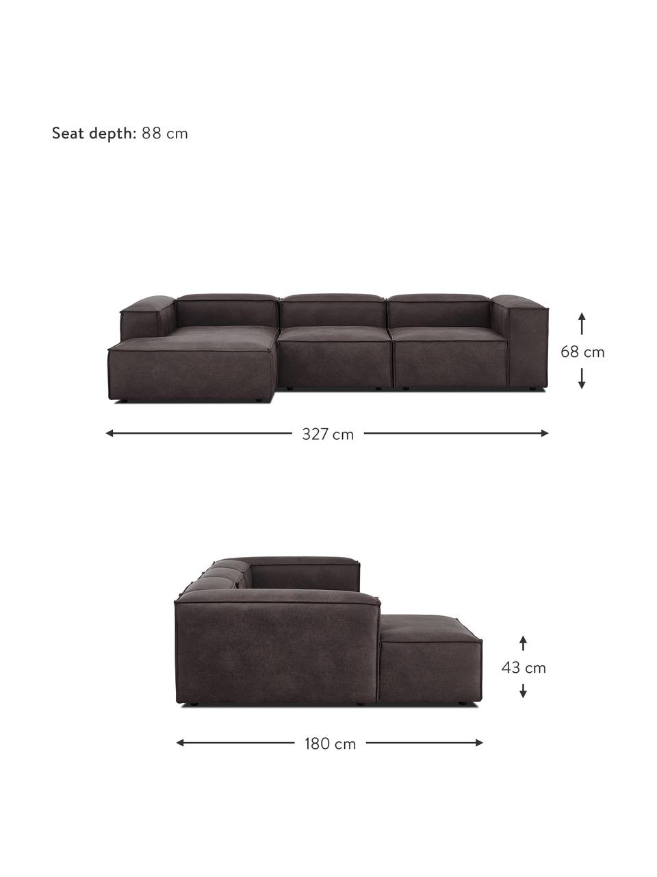 Narożna sofa modułowa ze skóry z recyklingu Lennon, Tapicerka: skóra pochodząca z recykl, Stelaż: lite drewno sosnowe, skle, Nogi: tworzywo sztuczne Nogi zn, Szary brązowy, S 327 x G 180 cm