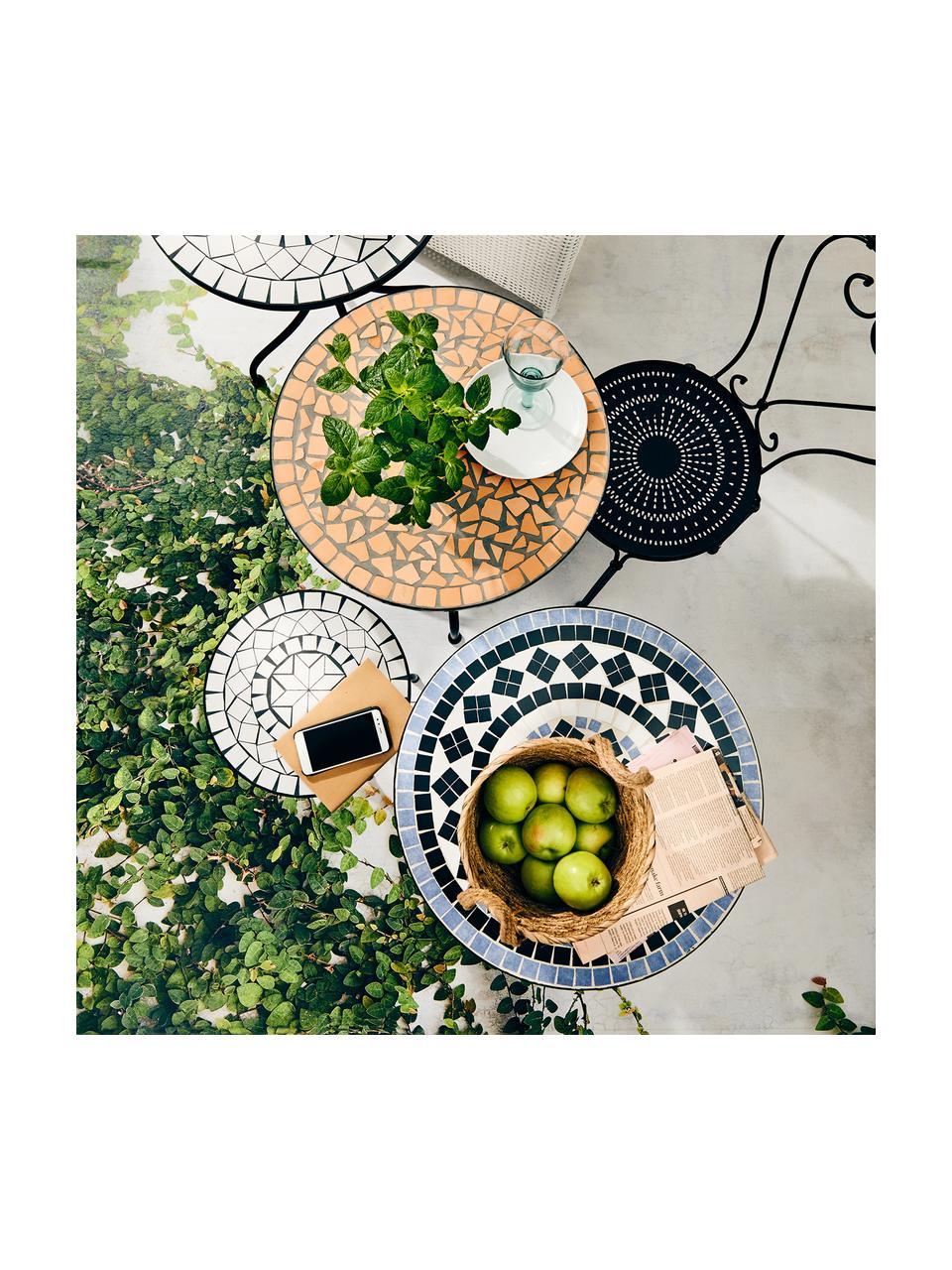 Garten-Beistelltisch Palazzo mit Mosaik, Tischplatte: Keramik-Mosaiksteine, Beine: Metall, pulverbeschichtet, Weiß, Schwarz, Ø 35 x H 54 cm