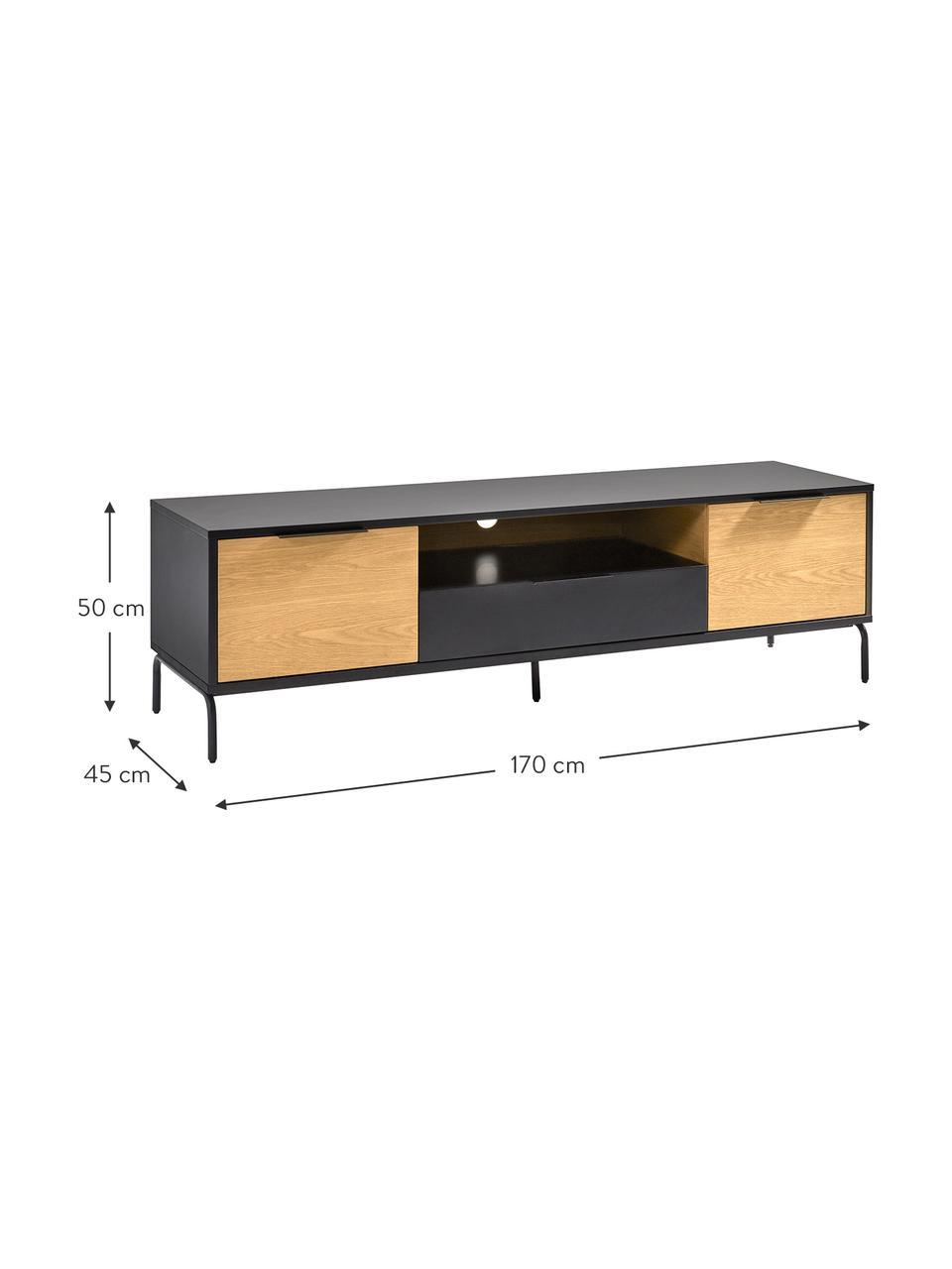 Tv-meubel Stellar met 2 deuren en een lade, Zwart, eikenhoutkleurig, 170 x 50 cm