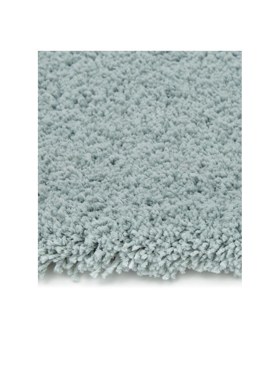 Pluizig hoogpolig vloerkleed Leighton in mintgroen, Bovenzijde: microvezels (100% polyest, Onderzijde: 70% polyester, 30% katoen, Mintgroen, B 200 x L 300 cm (maat L)