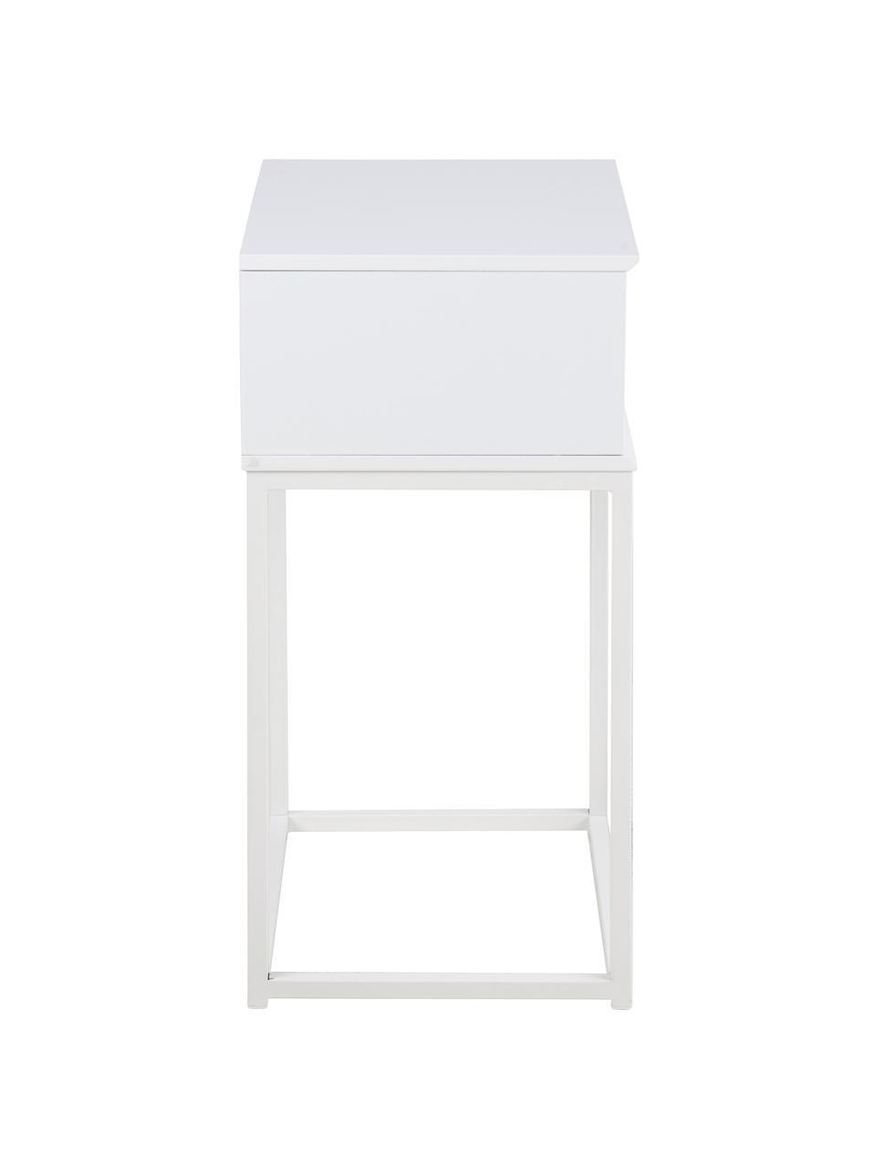 Szafka nocna z szufladą Mitra, Płyta pilśniowa średniej gęstości (MDF), lakierowany, metal malowany proszkowo, Biały, S 40 x W 62 cm
