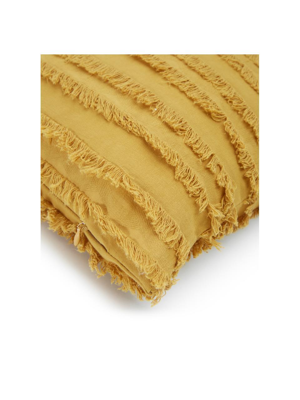 Federa arredo giallo con frange decorative Jessie, 88% cotone, 7% viscosa, 5% lino, Giallo, Larg. 45 x Lung. 45 cm