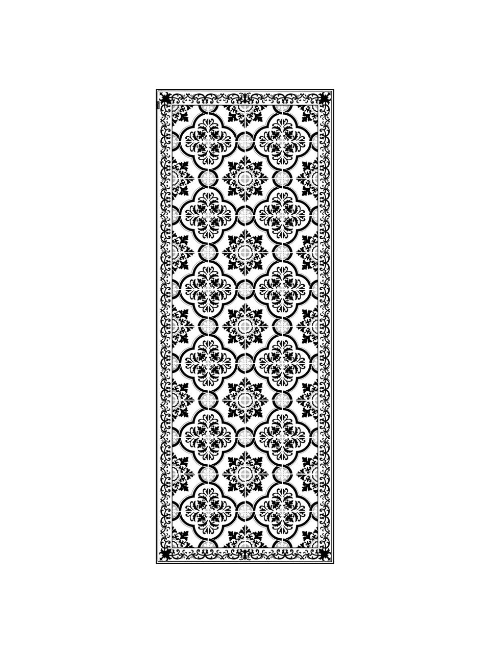 Antypoślizgowa mata podłogowa z winylu Elena, Winyl pochodzący z recyklingu, Czarny, biały, szary, S 65 x D 255 cm