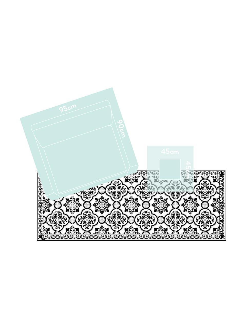 Vlakke vinyl vloermat Elena in zwart en wit, antislip, Recyclebaar vinyl, Zwart, wit, grijs, 65 x 255 cm