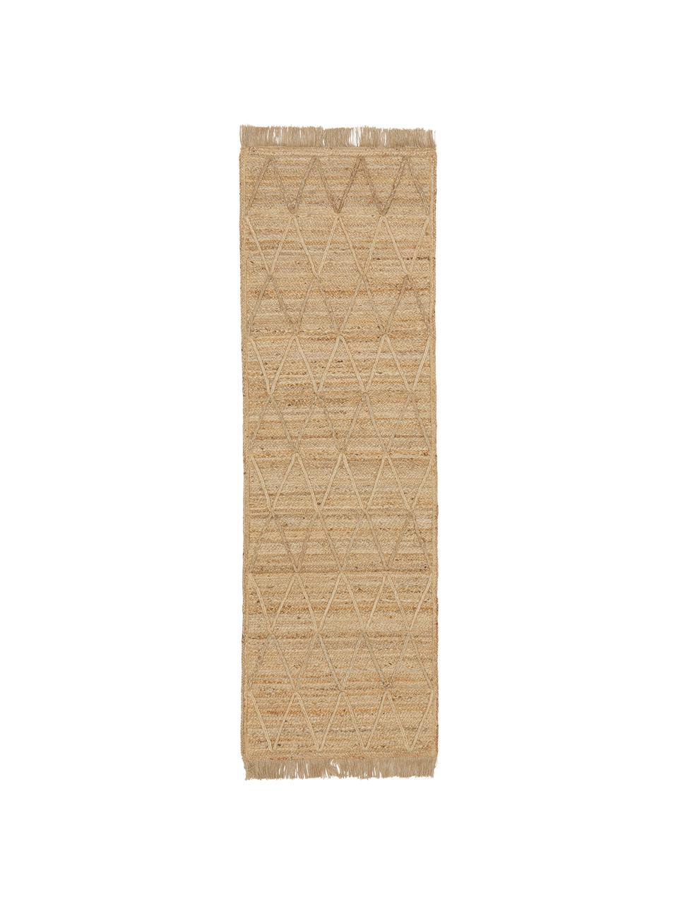 Handgemaakte juten loper Jason, 100% jute, Beige, 80 x 250 cm