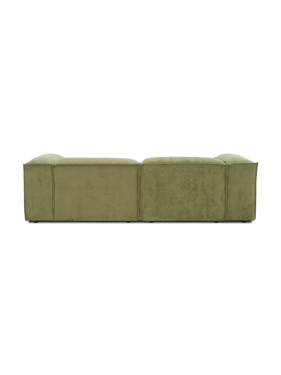 Modulares Ecksofa Lennon in Grün aus Cord, Bezug: Cord (92% Polyester, 8% P, Gestell: Massives Kiefernholz, Spe, Füße: Kunststoff Die Füße befin, Cord Grün, B 238 x T 180 cm