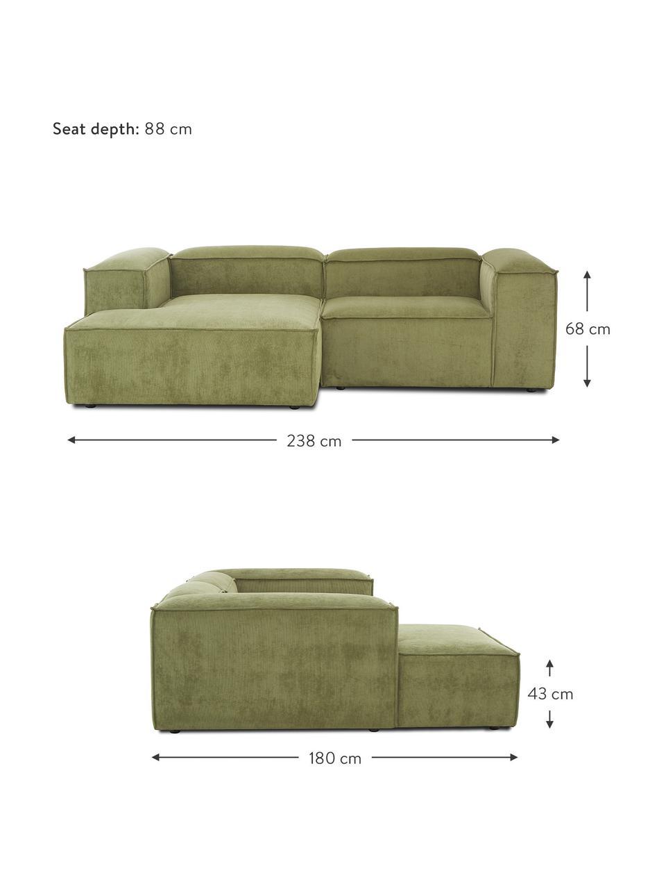 Canapé d'angle modulable velours côtelé vert Lennon, Velours côtelé vert