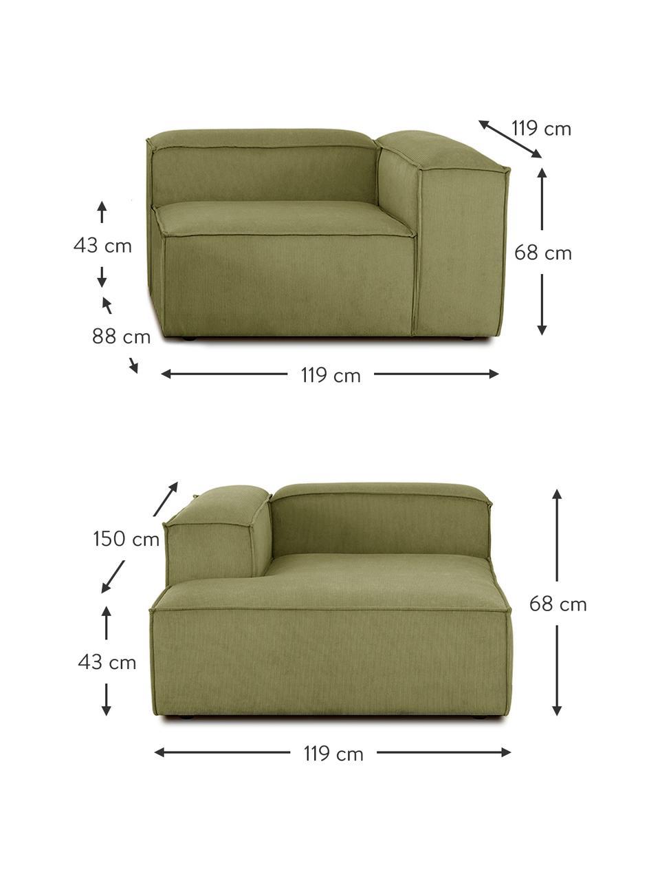 Narożna sofa modułowa ze sztruksu Lennon, Tapicerka: sztruks (92% poliester, 8, Stelaż: lite drewno sosnowe, skle, Nogi: tworzywo sztuczne Nogi zn, Sztruksowy zielony, S 238 x G 180 cm
