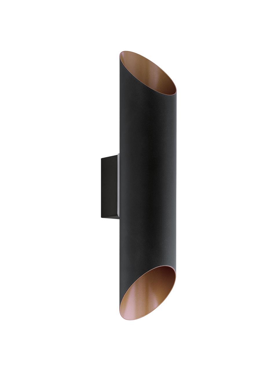 Außenwandleuchte Agolada in Schwarz-Kupfer, Lampenschirm: Stahl, verzinkt, Außen: Schwarz Innen: Kupferfarben, 8 x 36 cm