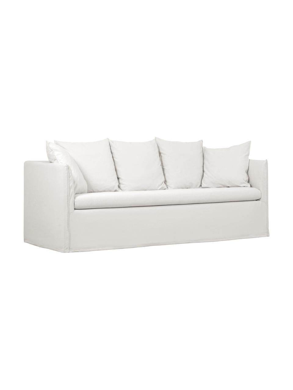 Hussen-Sofa Mila (3-Sitzer) in Cremeweiß, Bezug: Baumwolle 26.000 Scheuert, Gestell: Massives Fichtenholz, Füße: Kunststoff, Cremeweiß, B 195 x T 82 cm