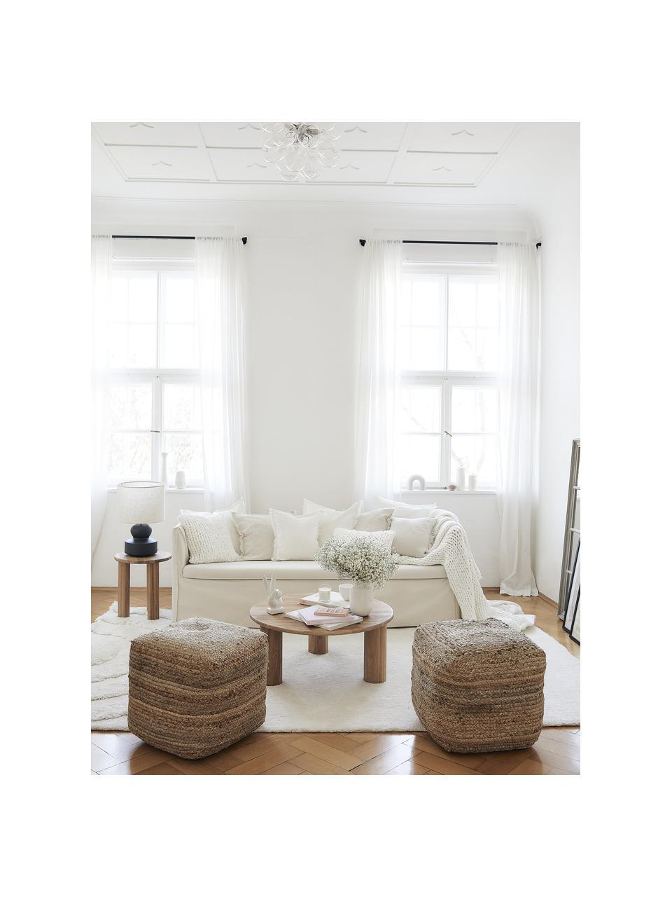 Zitbank met  kussens Mila (3-zits) in crèmewit, Bekleding: katoen, Frame: massief vurenhout, Poten: kunststof, Crèmewit, B 195 x D 82 cm