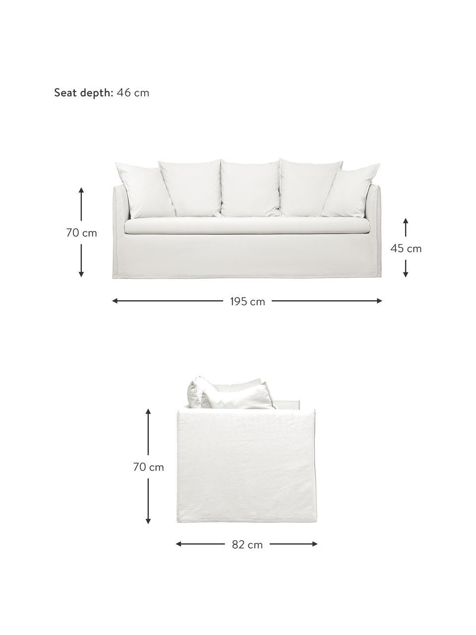 Hussen-Sofa Mila (3-Sitzer) in Cremeweiß, Bezug: Baumwolle Der hochwertige, Gestell: Massives Fichtenholz, Füße: Kunststoff, Cremeweiß, B 195 x T 82 cm