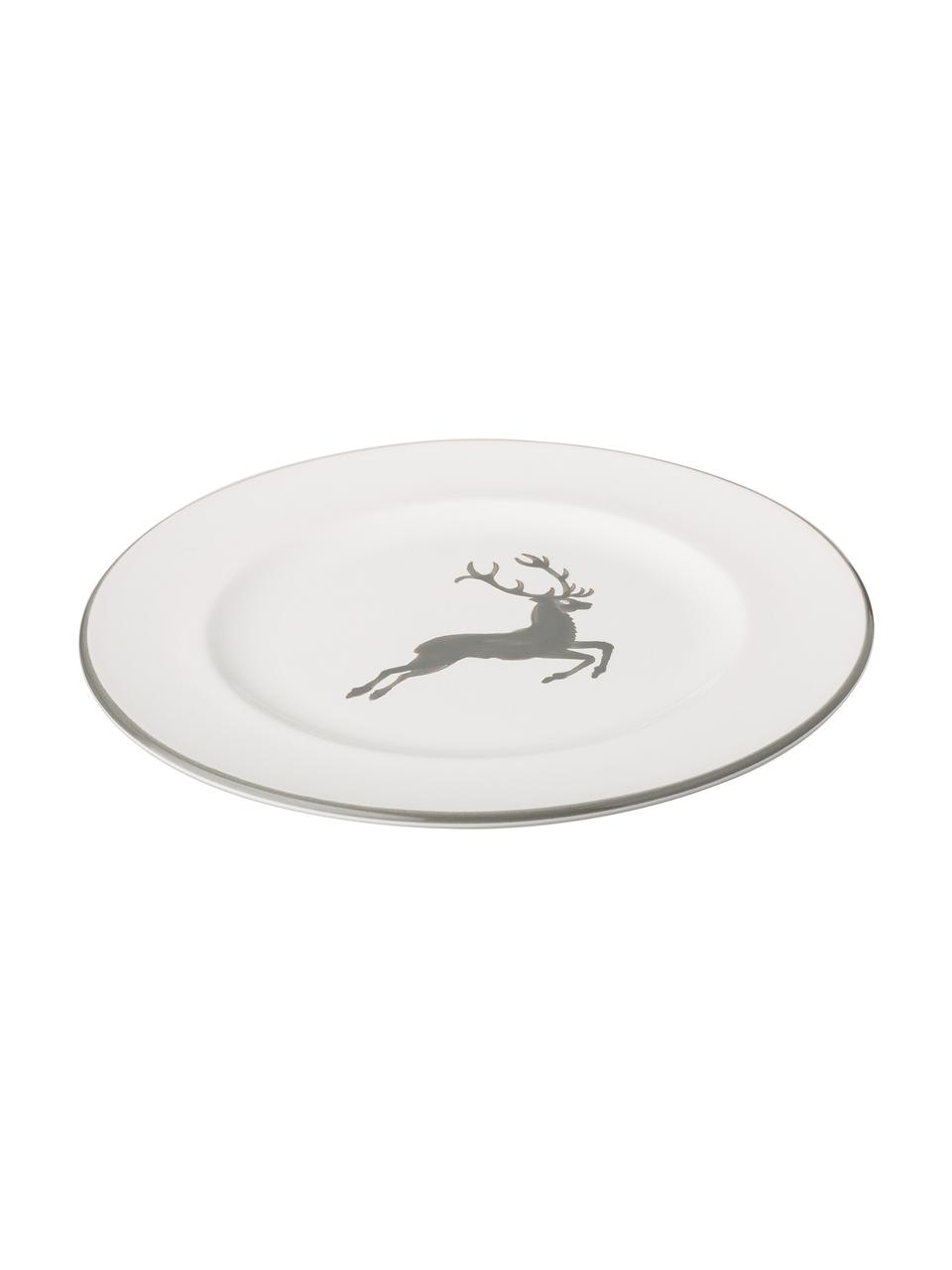 Handbeschilderd dessertbord Gourmet Grey Deer, Keramiek, Grijs, wit, Ø 22 cm
