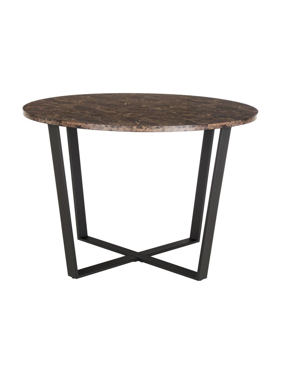Tavolo da pranzo con piano in marmo Amble, Piano d'appoggio: pannelli di fibra a media, Gambe: metallo verniciato a polv, Marrone marmorizzato, nero, Ø 110 x Alt. 75 cm
