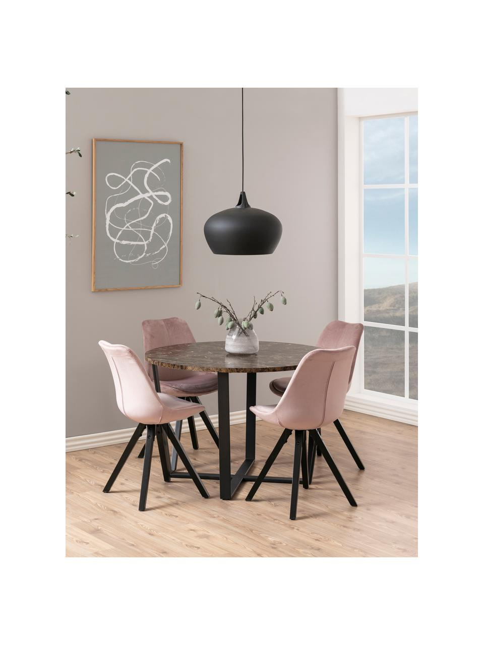 Ronde eettafel Amble met tafelblad in marmerlook, Tafelblad: MDF, melamine bekleed, Bruin, gemarmerd, zwart, Ø 110 x H 75 cm