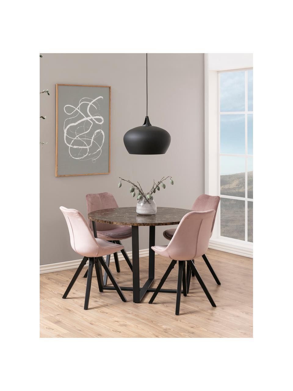 Tavolo da pranzo con piano in marmo Amble, Ø110 cm, Piano d'appoggio: pannelli di fibra a media, Gambe: metallo verniciato a polv, Marrone marmorizzato, nero, Ø 110 x Alt. 75 cm