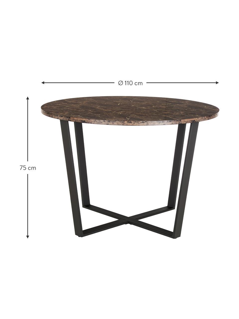 Okrągły stół do jadalni z blatem z imitacji marmuru Amble, Blat: płyta pilśniowa średniej , Brązowy, marmurowy, czarny, Ø 110 x W 75 cm