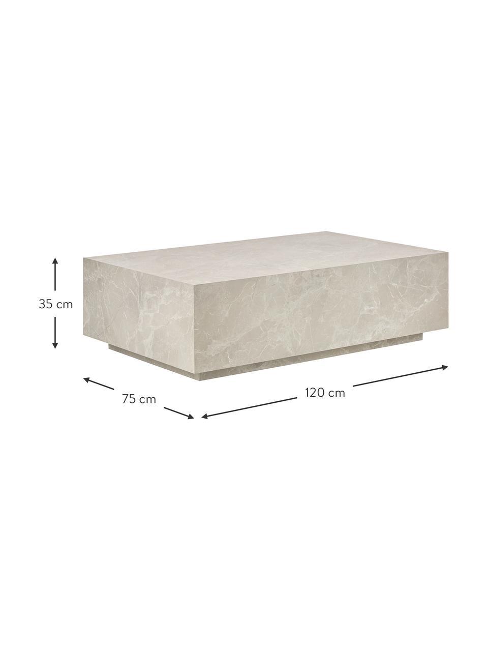Mesa de centro flotante en look travertino Lesley, Tablero de fibras de densidad media(MDF) recubierto en melanina, Beige, look travertino, An 120 x Al 35 cm
