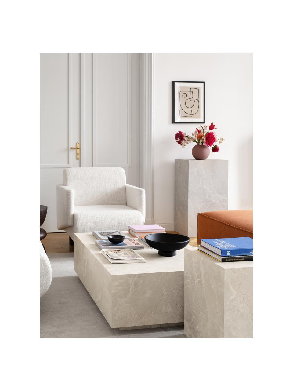 Tavolino vuoto da salotto effetto travertino Lesley, Pannello di fibra a media densità (MDF) rivestito con foglio di melamina, Beige effetto travertino, Larg. 120 x Alt. 35 cm