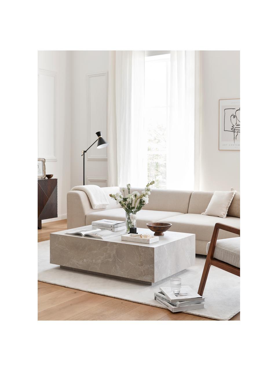 Zwevende salontafel Lesley in travertijn look, MDF bekleed met melaminefolie, Beige, travertijn look, 120 x 35 cm