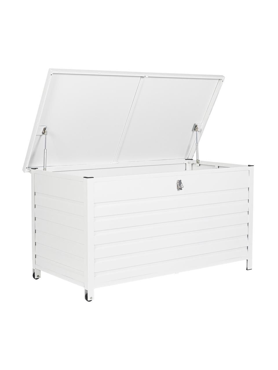 Opbergkist Atlantic in wit met wieltjes, Frame: gepoedercoat aluminium, Wieltjes: kunststof, Wit, 141 x 74 cm